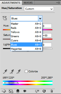 Hue / Saturation - Adjustment boks